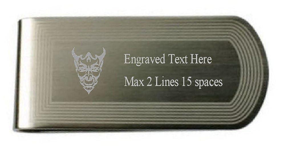 Devil Evil Joker Money Clip Engraved Own Text in Pouch