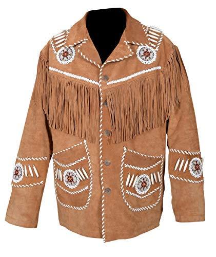 Scottish Designer Men's Western Jacket Brown Suede Leather Fringed & Bones (2 XL) - Leather Western Jacket