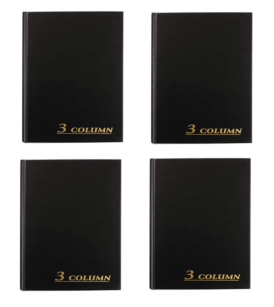 Adams Account Book, 7 x 9.25 Inches, Black, 3-Columns, 80 Pages, Sold as 4 Pack (ARB8003M) by Adams
