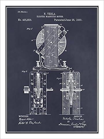 1889 Tesla Electro Magnetic Motor Patent Print Art Poster UNFRAMED Blackboard 18