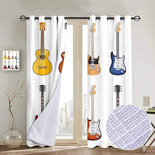 (NUOMANAN Kitchen Curtains Guitar,A Wide Variety of String Instruments Realistic Musical Pattern Jazz Blues Acoustic,Multicolor,Rod Pocket Drapes Thermal Insulated Panels Home décor 100
