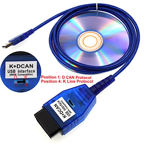BMW INPA K+DCAN Interface Diagnostic OBD II Cable Work with ISTA SSS NCS Coding Winkfp Programing Support E serials(with Switch) Support E39 (Engine Interface Cable)