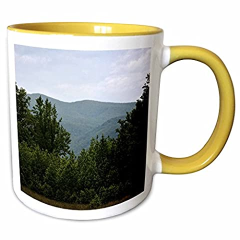 3dRose WhiteOaks Photography and Artwork - Mountains - Mountains at Cades Cove is a scene in the Smokey Mountains - 11oz Two-Tone Yellow Mug - Cades Cove Smokey Mountains