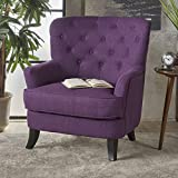 Annelia | Button-Tufted Fabric Club Chair | in Purple
