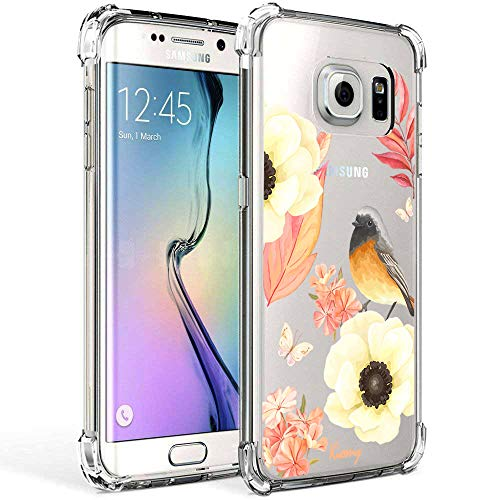 Galaxy S7 Edge Case, Clear Case with Design Flowers and Bird Pattern Print Bumper Protective Shock Absorption Case for Samsung Galaxy S7 Edge Flexible Soft TPU Gel Silicone Floral Cover for Girls