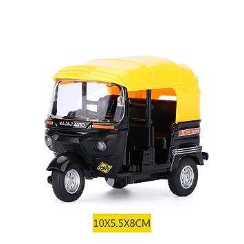 BDASDF Indian Street Auto Taxi Moto de Tres Ruedas de aleacion Modelo Pull Back Moto vehículo de Transporte,Tres Ruedas Motor camión Entrega: Amazon.es: ...