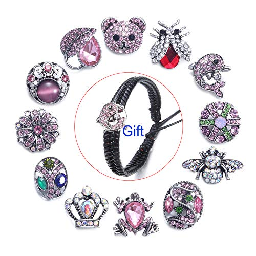 (12 PCS Snap Jewelry Snaps 18mm Snap on Jewelry Charms with Bracelet Set,Snaps Charm Button for Snap Jewelry Necklace)