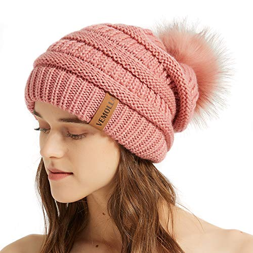 VEMOLLA Womens Winter Knit Slouchy Beanie Chunky Hats Bobble Hat Ski Cap with Faux Fur Pompom Pink
