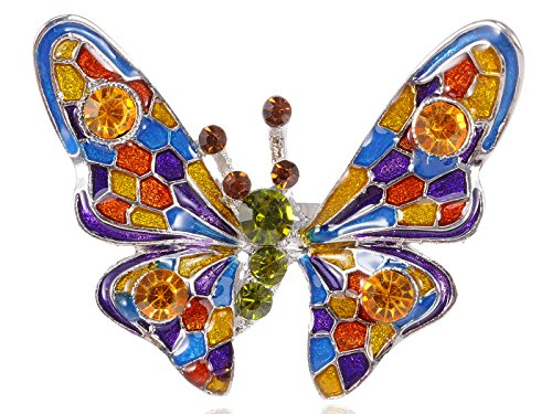 Alilang Womens Silvery Tone Sparkle Colorful Crystal Rhinestone Enamel Butterfly Bug Adjustable Ring