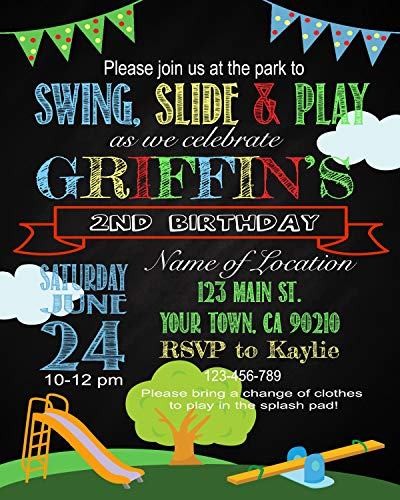 Dozili Personalized Playground Birthday Invite, Park Birthday Invite, Playground Theme, Park Theme, Playground Party, Park Party, Park Chalkboard Style Invite