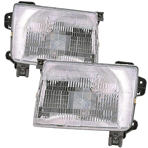 (For 1998 1999 2000 Nissan Frontier | Xterra Headlight Headlamp Driver Left and Passenger Right Side Pair Set Replacement NI2502121 NI2503121)