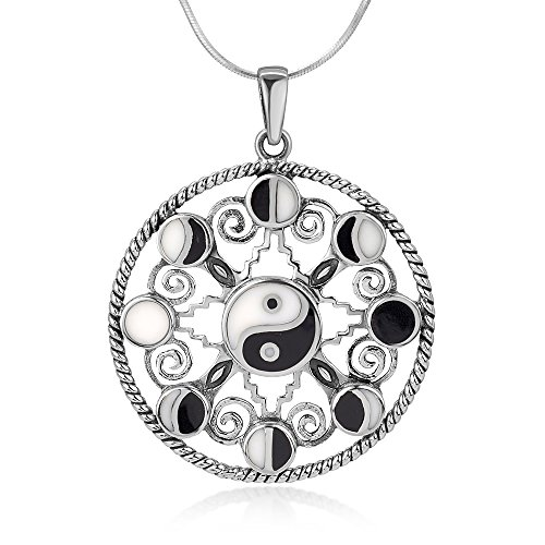 925 Sterling Silver Black White Yin Yang 8 Moon Cycle Symbol Enamel Handmade Pendant Necklace 18
