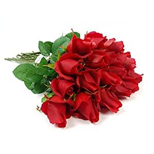 1 Dozen Live-Feel real touch artificial long stem rose with vein printed leaf.Keepsake flowers 2