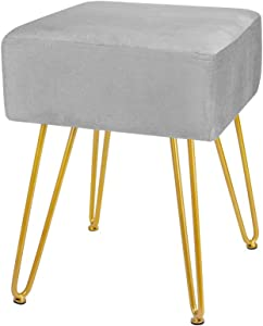 Velvet Footrest Stool Ottoman Round Modern Upholstered Vanity Footstool Side Table Seat Dressing Chair with Golden Metal Leg (Grey 2)