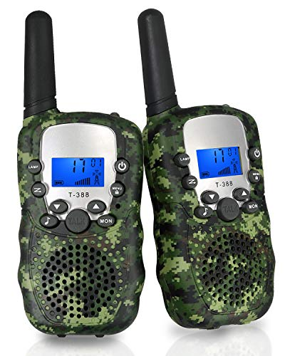 eSynic Walkie Talkies for Kids, 2 Pack 22 Channel Long Range Kids Walkie Talkies, T-388 2 Way Radio Toy with Belt Clip, Built in LCD Flashlight, Best Gifts for Kid's Birthday Christmas (Camo)