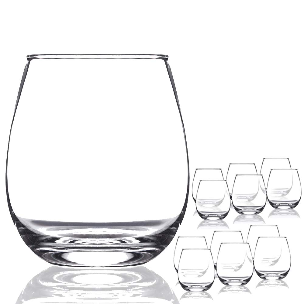 Chef's Star Shatter-Resistant Stemless Wine Glass Set (12 Pack) by Chef's Star