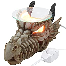 1 X Decorative Snarling Magical Dragon Skull Electric Oil Warmer or Tart Burner for Aromatherapy Essential Scented Oils in Mythical and Medieval Home Decor Lights Halloween Decorations & Scary Gothic Gifts