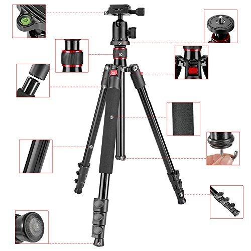 Neewer® Tragbare 62-Zoll-Leichtmetall Alluminum Kamera-Stativ mit 360-Grad-Kugelkopf, 1/4