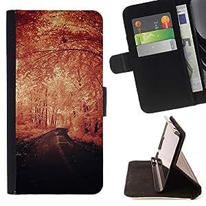 Momo Phone Case / Flip Funda de Cuero Case Cover - Invierno Vignette Naturaleza Camino de la Libertad - Samsung Galaxy E5 E500