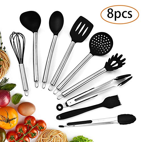 Silicone Kitchen Cooking Utensil Set, 8 Pcs Nonstick Kitchen Spatula Set with Stainless Steel Handle, Cooking Tool Turner Tongs Spatula Spoon Kitchen Gadgets Cookware Set