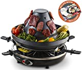 Gourmia GEG1400 Electric Raclette – Table-Top Party Grill – 6 person – Vertical Grilling Sombrero – 6 Cheese Melting Spatula Pans – Non Stick- Great gift Idea- FREE Recipe Book Review