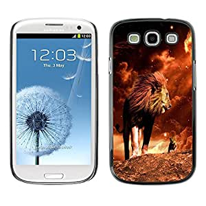 Qstar Arte & diseño plástico duro Fundas Cover Cubre Hard Case Cover para SAMSUNG Galaxy S3 III / i9300 / i747 ( Lion Mane Golden Sahara Africa Powerful)