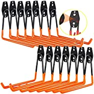3-H Garage Hooks Heavy Duty, Steel Garage Storage Hooks Wall Mount 14PC for Ladders, Bike, Hoses, and More Equ