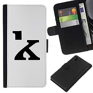 Be-Star la tarjeta de Crédito Slots PU Funda de cuero Monedero caso cubierta de piel Para Sony Xperia Z1 L39 ( K Calligraphy Letter Initial Grey Black )