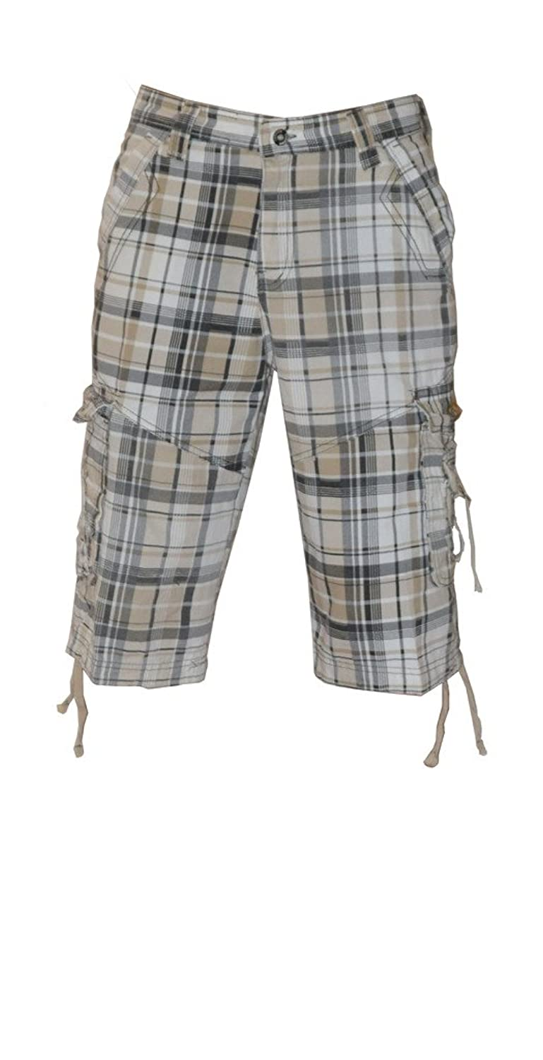 Dinamit Golden Men's Plaid Cargo Shorts