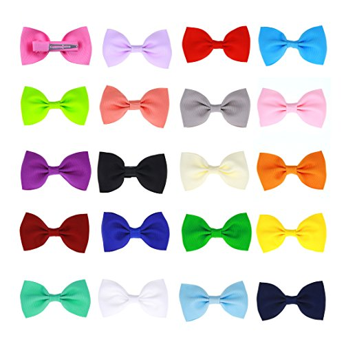 (ICObuty 20 Pcs Baby Girl Boutique Grosgrain Ribbon Hair Bows Alligator Clips For Teens Kids Toddlers Children(2.75 Inch))