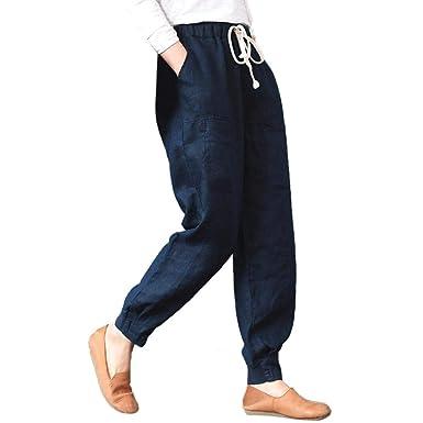 bb6e533c47f60 Pantalons Noir Unie Femmes Pantalon Carotte Poches Chic Ceinture éLastiques  Pants Amples en Vrac SANFASHION(