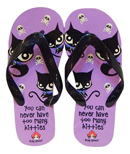 Mighty Fine Bad Cat Ruby Gloom Flip Flops Thong Sandal (Small 5-6, Purple)