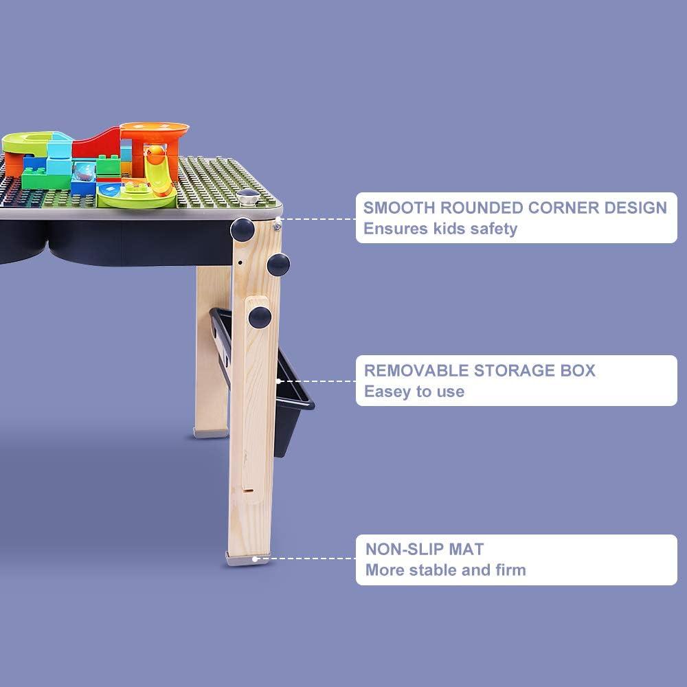 Dripex Bausteine Spieltisch inkl multifunktionaler Aktivit/ätstisch mit Aufbewahrungsbox Bausteinen kompatibler Bausteintisch Schreibtisch Kunsthandwerk Tisch Staffelei f/ür Kinder