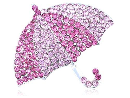 Alilang Rose Pink Sparkle Crystal Rhinestone Embedded Umbrella Fashion Custom Pin Brooch