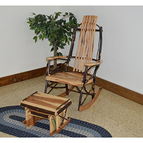 A & L Furniture Co. Amish Bentwood 7-Slat Hickory Rocking Chair With Gliding Ottoman (Slat Glider)