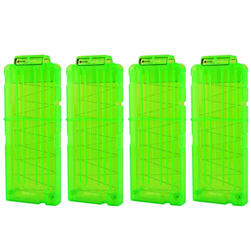 Bullet Clips, Yamix 4 Pack 12-Darts Quick Reload Clips Magazine Clips for nerf n strike elite blasters - Transparent Green
