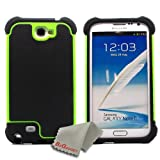 BZ Gadget Hybrid Armor Defender Case Cover for Samsung Galaxy Note II Note 2 (Green) + BZ Gadget Cleaning Cloth