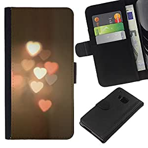 iBinBang / Flip Funda de Cuero Case Cover - Borrosa luces de la calle Ciudad de pastel - HTC ONE M9
