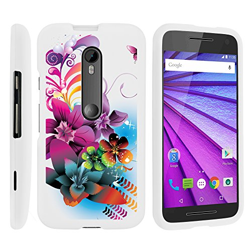 Moto G 3rd Gen Phone Cover, Lightweight Snap On Armor Hard Case with Cute Design Collage for Motorola Moto G (2015) XT1540, XT1548 by MINITURTLE - Purple Flower Butterfly