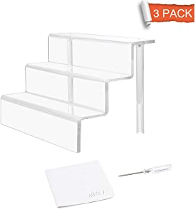"""NIUBEE 3 Step Acrylic Riser Stand Shelf for Display (9×6"""", 3 Pack)"""