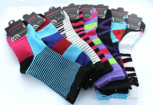 Price comparison product image 8 Pairs Ladies Fun Print Everbright Crew Socks Assorted Styles Sz 9-11