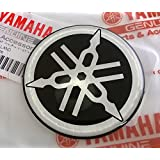 Yamaha 2CM-F313B-00 - Genuine 50MM Diameter Yamaha Tuning Fork Decal Sticker Emblem Logo Black/Silver Raised Domed Gel Resin Self Adhesive Motorcycle/Jet Ski/ATV/Snowmobile