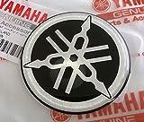 Yamaha 2CM-F313B-00 - Genuine 50MM Diameter Yamaha Tuning Fork Decal Sticker Emblem Logo Black / Silver Raised Domed Gel Resin Self Adhesive Motorcycle / Jet Ski / ATV / Snowmobile
