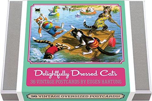 Delightfully Dressed Cats Postcard Box  - 36 Unique Vintage Postcards: Feline Frolics by Eugen Hartung (Postcard Books-Postcard Books) ()