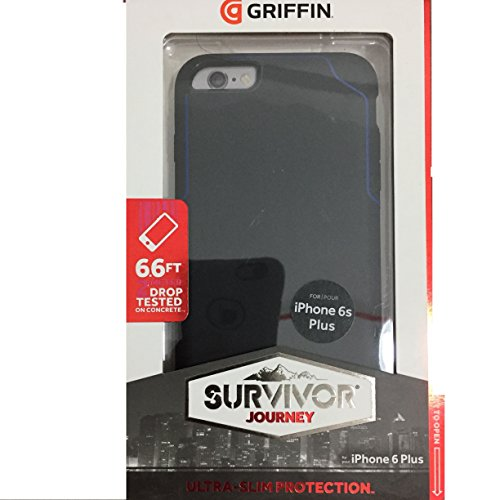 (Griffin Survivor Strong iPhone 6/6s Plus Case with Slim and Shock-Absorbing Design - Black/Blue)