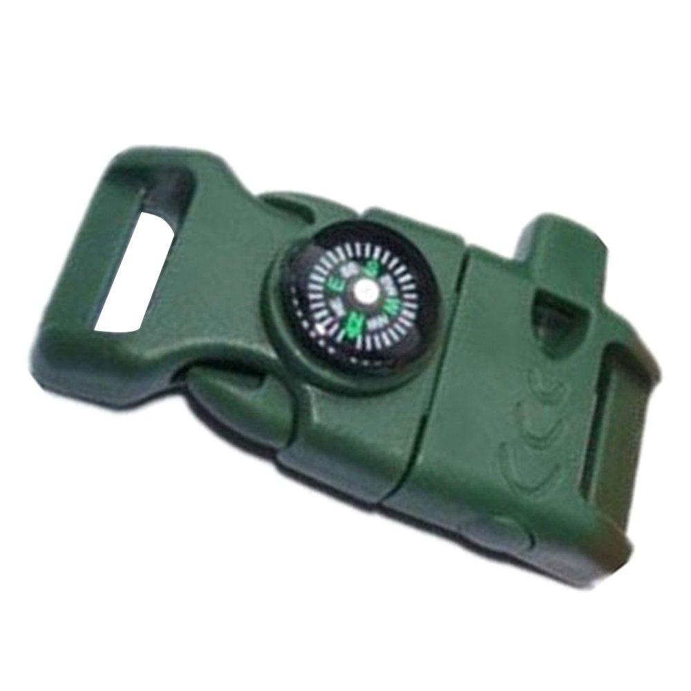 Merssavo Verde del ej/ército Hebilla Lateral con Silbato Br/újula Flint Fuego de Arranque Scaper para Pulsera Paracord