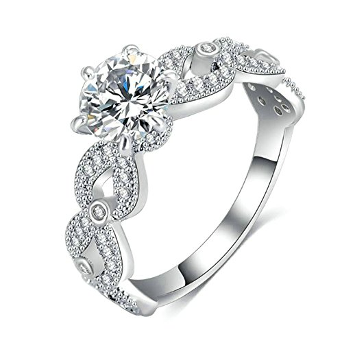 Gnzoe Wedding Band Hollow Weave Round Cut Zirconiailver Fashion Ring (Dance Costume Catalogues 2016)