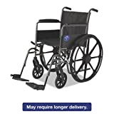 "Medline Strong and Sturdy Wheelchair with Full-length Arms and Swing-away Leg Rests for Easy Transfers, 18"" Seat"