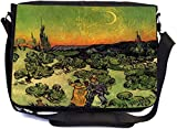 Rikki Knight Van Gogh Couple Walking Crescent Moon Design Multifunctional Messenger Bag - School Bag - Laptop Bag - with Padded Insert for School or Work - Includes Matching Compact Mirror