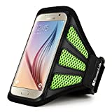 Sumaclife Fashion Mesh Sports Series Cellphone Armband Armlet for Samsung Galaxy J5 (2016) / Amp Prime/Amp 2 / S7 / S6 Edge / S6 / A5 / E5 (Green/Black)